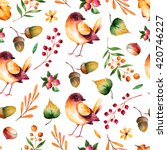 seamless pattern with autumn... | Shutterstock . vector #420746227