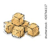 Hand Draw Of Brown Sugar Cubes...