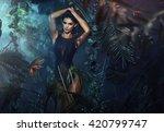 sexy brunette woman posing in... | Shutterstock . vector #420799747