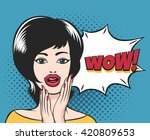 surprised young girl face with... | Shutterstock .eps vector #420809653
