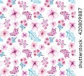 watercolor light pink flowers ... | Shutterstock . vector #420809887