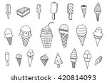 line art icecream icons set.... | Shutterstock .eps vector #420814093