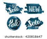 set of watercolor sale and... | Shutterstock .eps vector #420818647
