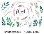 watercolour boho flower set. ... | Shutterstock . vector #420831283