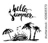 hand drawn ink summer design.... | Shutterstock .eps vector #420835573