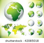 Vector Green Globe and World Map - stock vector