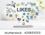 likes concept with smartphone... | Shutterstock . vector #420855553