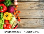include vegetables on wooden... | Shutterstock . vector #420859243
