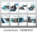 Blue set technology annual report brochure flyer design template vector, Leaflet cover presentation abstract geometric background, layout in A4 size | Shutterstock vector #420883507