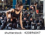 sportive young woman doing... | Shutterstock . vector #420896047