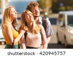 three happy smiling young... | Shutterstock . vector #420945757