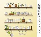 kitchen shelves with dishes and ... | Shutterstock .eps vector #420963703
