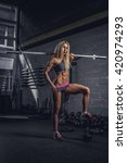 sensual blond fitness model... | Shutterstock . vector #420974293