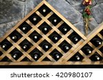 resting wine bottles stacked on ... | Shutterstock . vector #420980107
