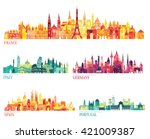 skyline detailed silhouette set ... | Shutterstock .eps vector #421009387