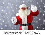 santa claus with headphones... | Shutterstock . vector #421022677