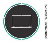 laptop simple flat white vector ...