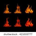 vector set of  different yellow ... | Shutterstock .eps vector #421033777