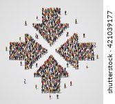 large group of people in the... | Shutterstock .eps vector #421039177