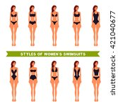 styles of women s swimsuits ... | Shutterstock .eps vector #421040677