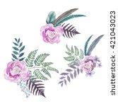 set of 3 pastel flower... | Shutterstock . vector #421043023
