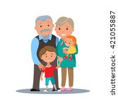 grandparents family with... | Shutterstock .eps vector #421055887