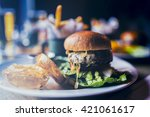 tasty grilled beef burger with... | Shutterstock . vector #421061617