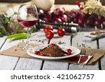 grilled liver steak slice on... | Shutterstock . vector #421062757