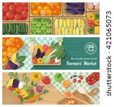 freshly harvested vegetables... | Shutterstock .eps vector #421065073