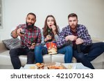 group of amazed shocked young... | Shutterstock . vector #421070143