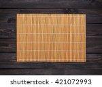 orange bamboo napkin on a dark... | Shutterstock . vector #421072993