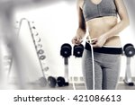 slim woman body in gray clothes ... | Shutterstock . vector #421086613