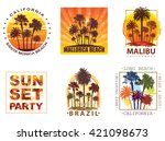 exotic travel backgrounds with... | Shutterstock .eps vector #421098673