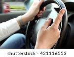 businwssman using mobile smart... | Shutterstock . vector #421116553