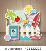 summer scrapbook. holidays... | Shutterstock .eps vector #421122223