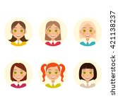 womens faces. woman with... | Shutterstock .eps vector #421138237