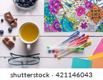 adult coloring books  new... | Shutterstock . vector #421146043