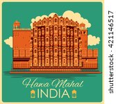 vintage poster of hawa mahal in ... | Shutterstock .eps vector #421146517