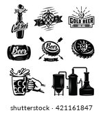 set of vector beer badges on... | Shutterstock .eps vector #421161847
