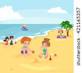 children summertime vacation... | Shutterstock .eps vector #421165357