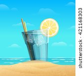 glass with lemonad with slice... | Shutterstock .eps vector #421168303