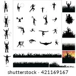 silhouettes of athletes and... | Shutterstock .eps vector #421169167