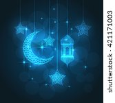 ramadan greeting card on blue... | Shutterstock .eps vector #421171003