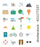 set of 24 travel vector icons | Shutterstock .eps vector #421177237