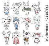 set of 12 cute fashion rabbits | Shutterstock .eps vector #421187563