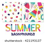 summer backgrounds patterns in... | Shutterstock .eps vector #421193137