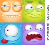 cartoon monster faces | Shutterstock .eps vector #421196287