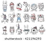 cute hipster animals | Shutterstock .eps vector #421196293