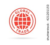 global trade icon with red... | Shutterstock .eps vector #421201153