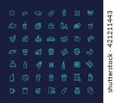 fast food vector outline icons... | Shutterstock .eps vector #421211443
